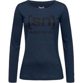 super.natural Essential I.D. LS Shirt Women blue iris melange/jet black logo